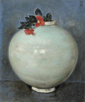 椿《壺(白磁大壺に椿)》1947年.jpg