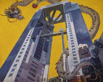 ⑩祝 飛龍遊々スカイビル(絵画)_Flying dragon frolicing around the Sky Building(Painting).jpg